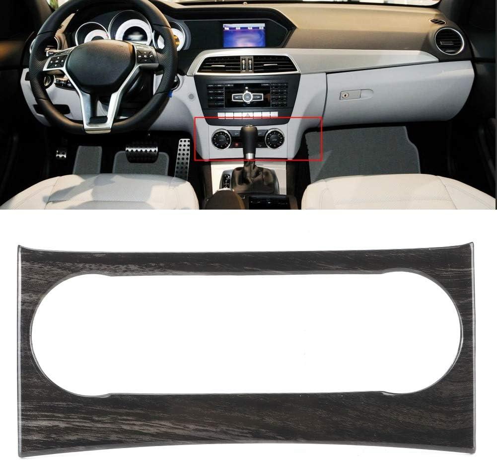 Cadre de Panneau de commutateur de climatisation /à Grain de Bois Noir Compatible avec Mercedes Benz Classe C W204 11-14 Outbit Cadre de Panneau de commutateur de climatisation