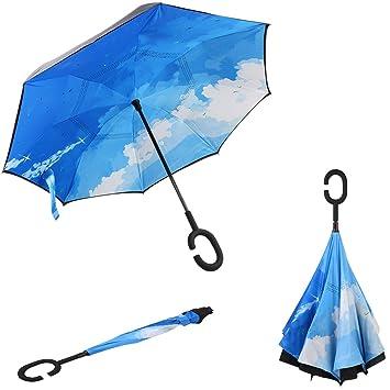 Greenk – Paraguas de doble capa con forma de C con mango, cortavientos e