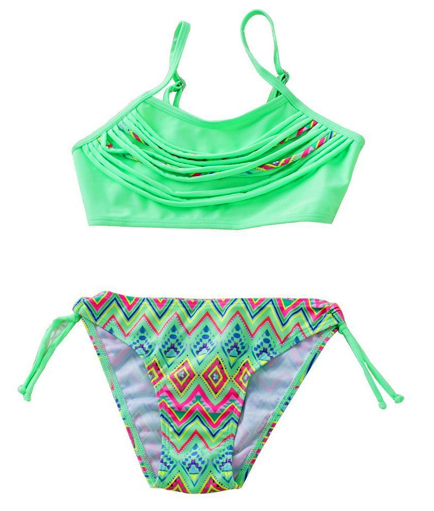 Toddler Girl Swimsuit Size 2t Two Piece Bathing Suits for Girls Swimsuits for Kids High Waisted Swimsuits Bikini Swimwear Set Summer Swimming Sets (Green, 28)