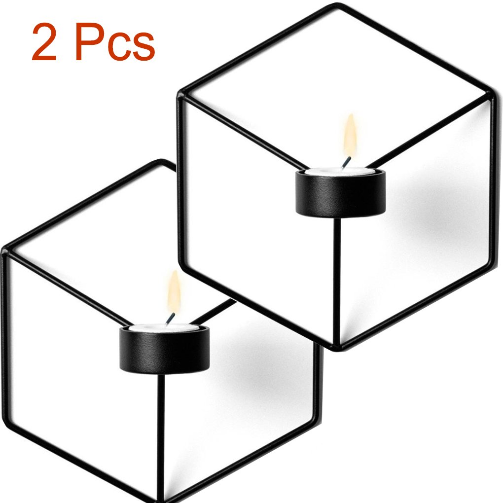 Morrivoe 3D Geometric 2Pcs Candlestick Wall Candle Holder Sconce Matching Small Tealight Nordic Style Hanging Wall Candlestick (Black)