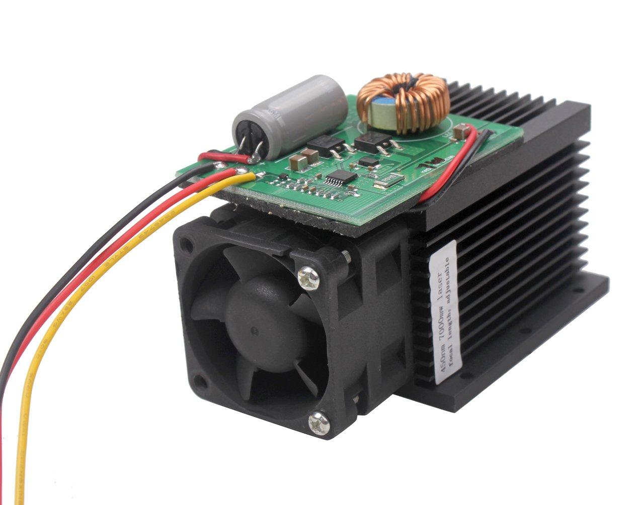 SUNWIN Universal Laser Module Head 7W 7000MW Blue Light 450nm For DIY Laser Engraver