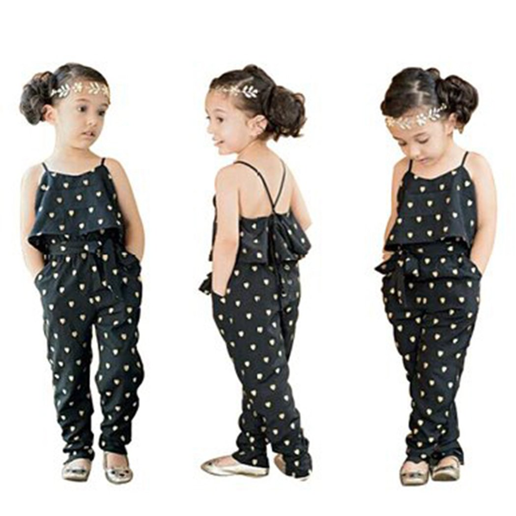 RAYWIND Girls Heart Print Rompers Summer Jumpsuit Clothes