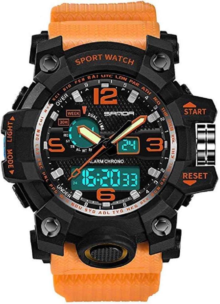 WSSVAN Reloj deportivo, de lujo multifunción deportes al aire libre pantalla doble indicador electrónico reloj luz fría impermeable deportivo casual reloj para hombre (naranja)