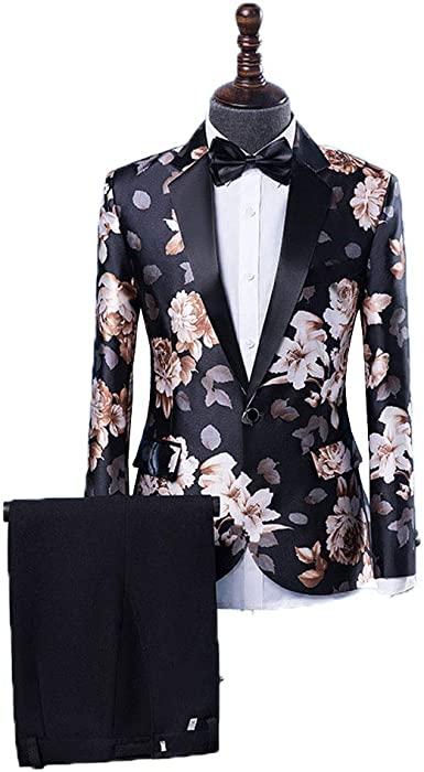 Mens 2-Piece Suits One Button Floral Blazer Dinner Jacket and Pants