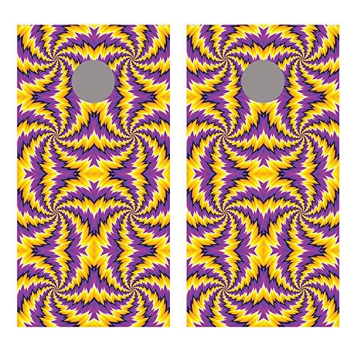 Let 's印刷Big Spiral IllusionパープルとイエローCornholeボードデカールラップ B07FDLHJ42 Non Laminated