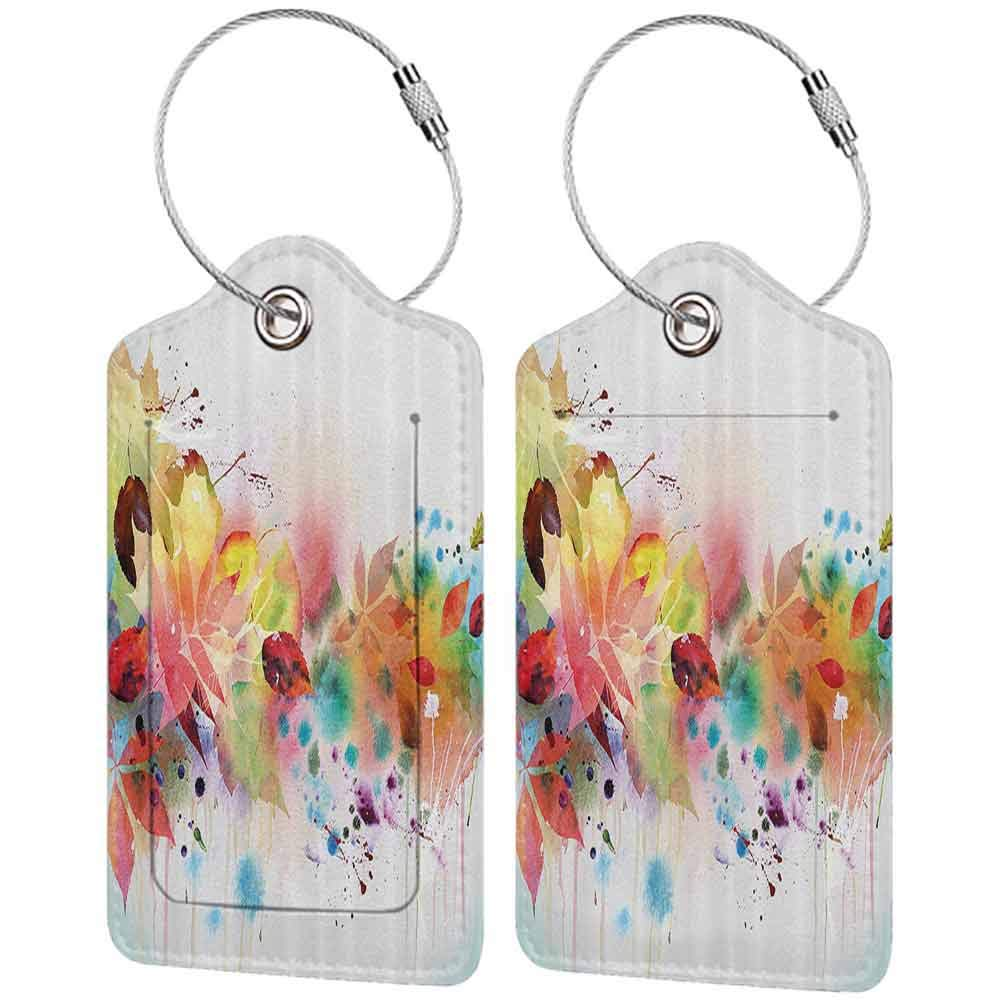 Multicolor luggage tag Fall Decorations Psychedelic Fall Scene with Watercolors Splashes and Brushstrokes Blurry Decor Hanging on the suitcase Multi W2.7 x L4.6