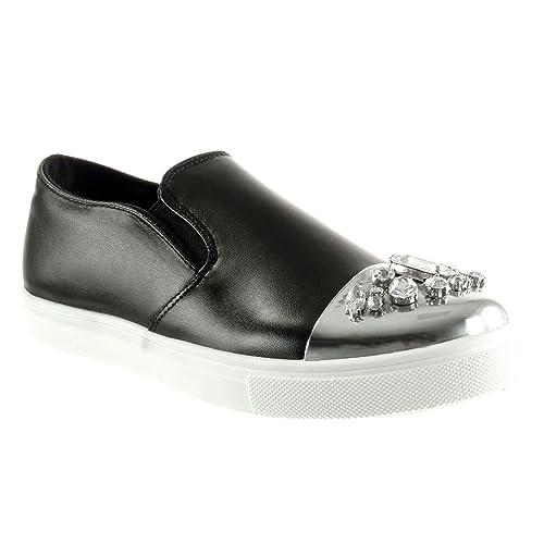 Angkorly - Zapatillas de Moda Mocasines Slip-on Suela de Zapatillas Mujer Joyas Brillantes Talón tacón Plano 2 CM: Amazon.es: Zapatos y complementos