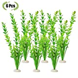 #5: The Bloom Times Fish Tank Decoration 6Pcs/Bag,12inch High Green Artificial Aquatic Plant,Used For Household And Office Aquarium Simulation Plastic Hydroponic Plants