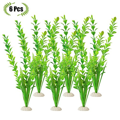 The Bloom Times Fish Tank Decoration 6Pcs/Bag,12inch High Green Artificial Aquatic Plant,Used For Household And Office Aquarium Simulation Plastic Hydroponic Plants