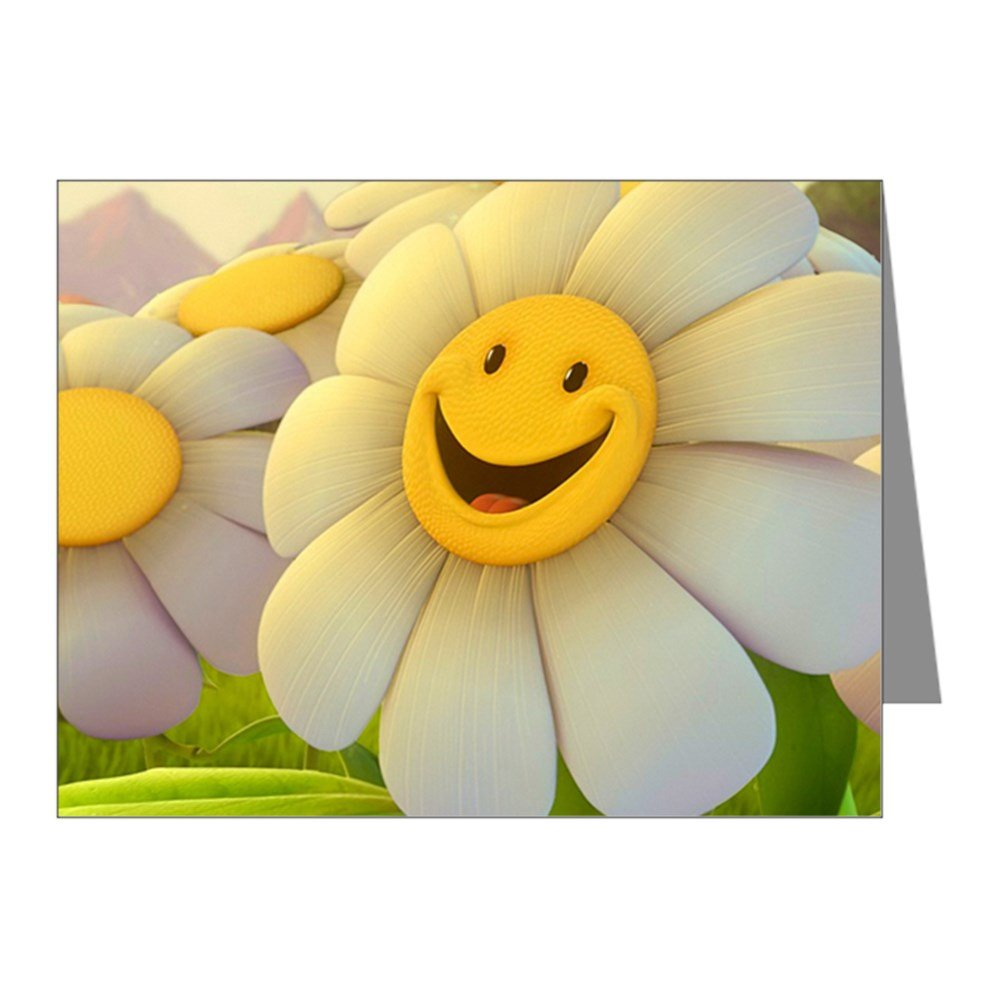 Note Cards (20 Pack) Smiley Face Daisy Flower