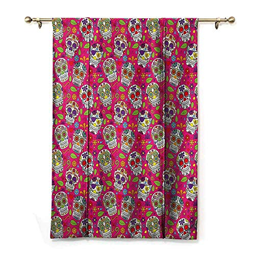 (Homrkey Insulated Sunshade Roman Curtains Sugar Skull Colorful Festive Skulls Leaves Motifs Pirate Cemetery Graveyard Traditional Noise Reducing W48 xL64 Multicolor)
