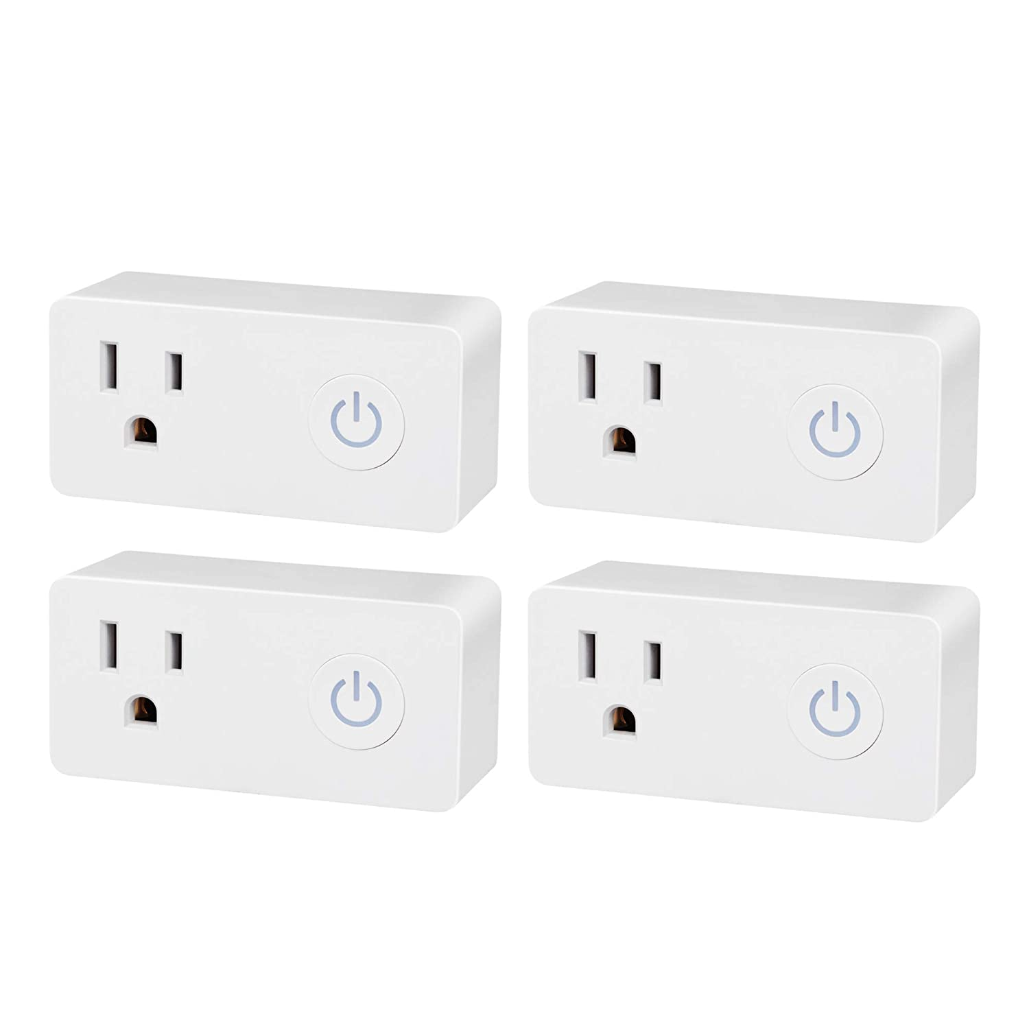 BN-LINK Smart WiFi Outlet, Hubless with Energy Monitoring and Timer Function, No Hub Required, White, Compatible with Alexa and Google Assistant (4-Pack)