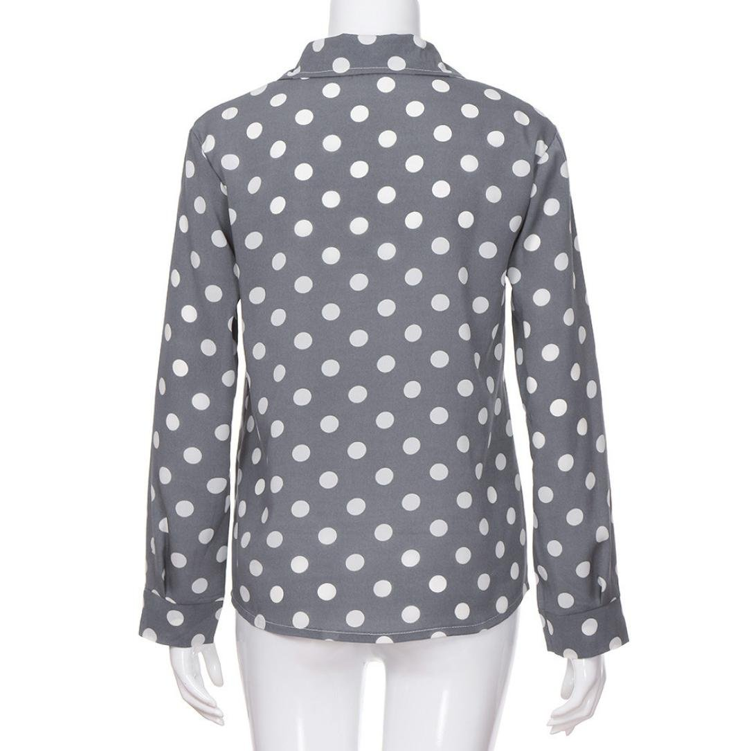 Amazon.com : HOSOME Women Top Work Office Dot Print Gray Casual Long Sleeve Shirt Blouse Top : Grocery & Gourmet Food