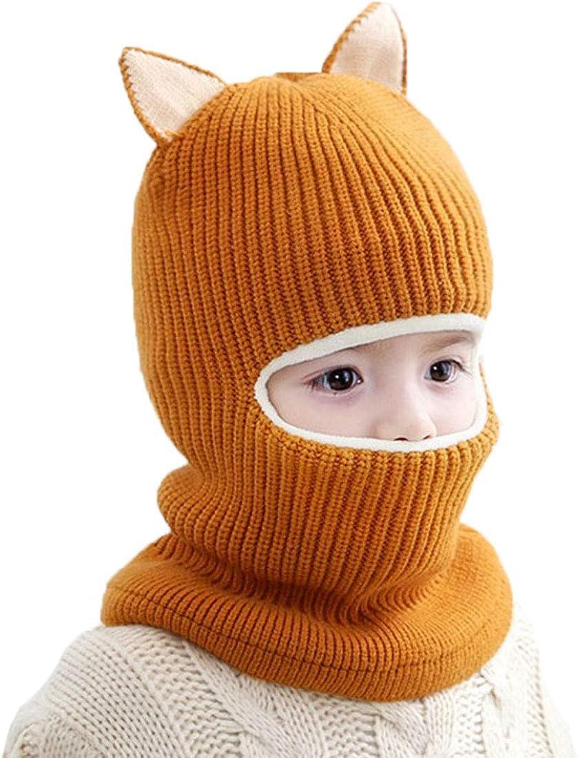 ACVIP Toddler Boys Girls Wool Knit Cotton Lining Cold Weather Balaclava Headwear