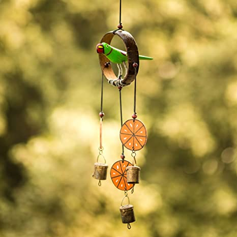 Exclusivelane Parrot Home Decorative Hanging Cum Outdoor Garden Bells Wind Chime (Multicolour, Wood) - Wind Chimes for Balcony Wooden Wind Chimes Wind Chimes for Home Decorative Hanging