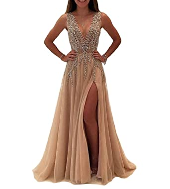 Champagne Flower Sequin Prom Dress