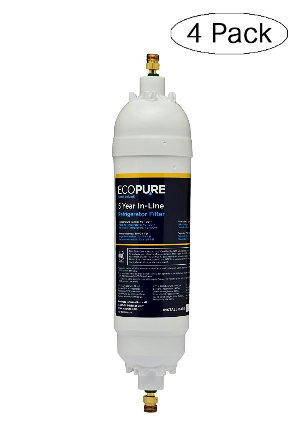 """EcoPure EPINL30 5 Year in-Line Refrigerator Filter-Universal Includes Both 1/4"""" Compression and Push to Connect Fittings (Fоur Расk)"""