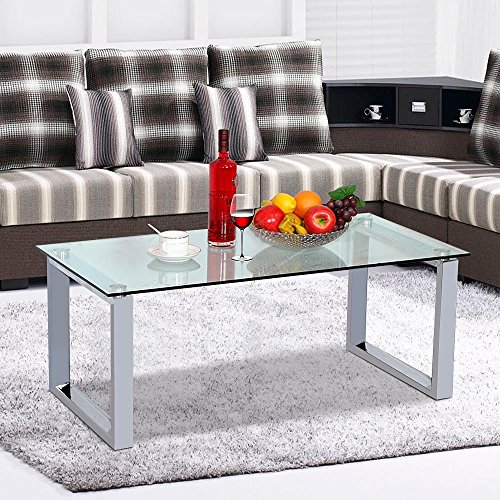 home, kitchen, furniture, living room furniture, tables,  coffee tables 12 image Topeakmart Modern Design Cocktail Coffee Table Tempered Glass promotion