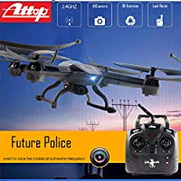 Premium Future Police Remote Control Drone RC Quadcopter w HD Camera, 2.4GHz 4-Channel w Gyroscope, 360 Degree Flips, Multi Flying Directions, Long flight distance and time, Light Weight, Great Fun