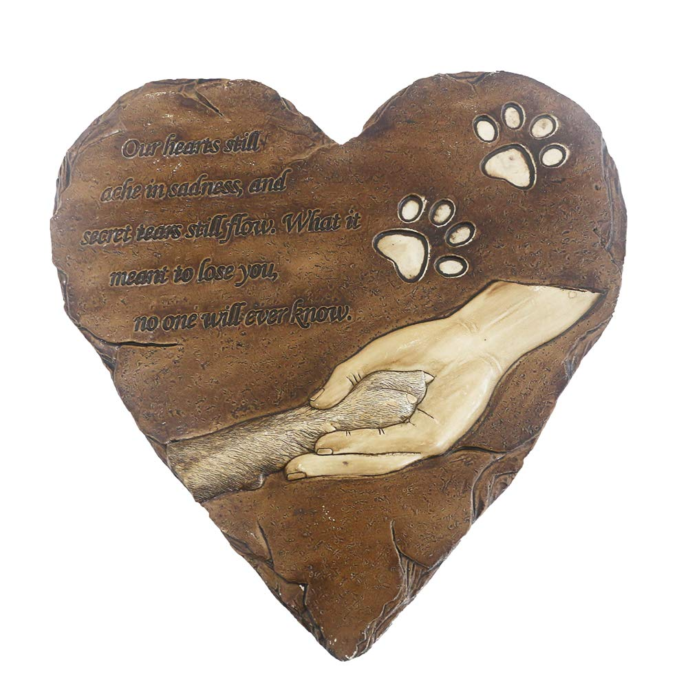 Dog Memorial Stone Hand-printed heart-shaped personalized loss of pet gifts dog with sympathy poem and paw in hand design meaningful dog memorial stepping stones for outdoor. JHB (Brown)