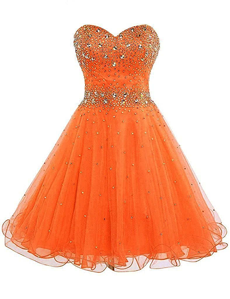 orange APXPF Women's Short Beaded Cocktail Party Bridesmaid Homecoming Dress