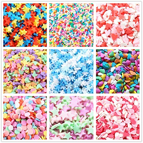 ANPHNIE Fake Candy Sweets Sugar Sprinkles - 10 Packs of Colorful Ice Sprinkles Decorations for Slime Kit DIY Cake Dessert Simulation Food (Color A)