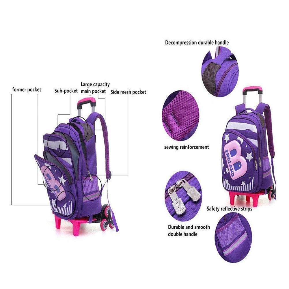 92f790313b ... DYYTR rossoolamento Zaino Ruote Trolley-Bambini Unisex Scuola Scuola  Scuola di Viaggio in Nylon Impermeabile ...