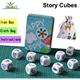 HCDIM HC DIY Happy Story Dice 9 Cubes Toys 54 Images Unlimited Stories Combinations Iconic Storytelling Game Imaginative Play
