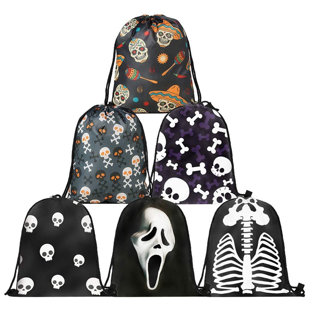 Assorted 2 6PACK Opromo 6 Pack Halloween Bag Pumpkin Pattern Print Goodie Bags for Trick or Treat