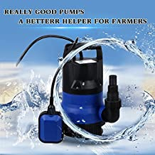 Sump Pump 1/2 HP Submersible Pumps Automatic Electric Portable Outdoor Clean/Dirty Water Pump Flood Drain Garden Pond Swimming Pool Pump (US STOCK) (1/2HP - Blue)