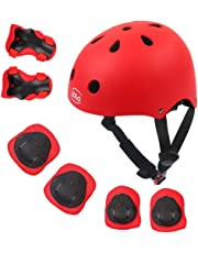 LBLA Kids Bike Skateboard Helmet,Helmet and Pads Protect Head Knee Elbow and Wrist,7 Pcs Adjustable Protective Gear Set for 3-8 Years Kids Boys and Girls