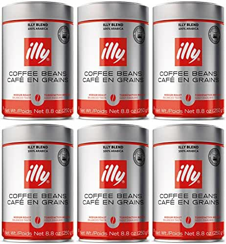 illy Caffe Normale Whole Bean Coffee, Medium Roast, 8.8 coffee cans (Pack of 6) Package may vary