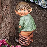 "Caught with His Pants Down Garden Elf statue-Naughty Garden Elf Yard art, Funny Gnome/Elf - Polyresin Statue Measures 13-1/2"" high x 5"" wide"