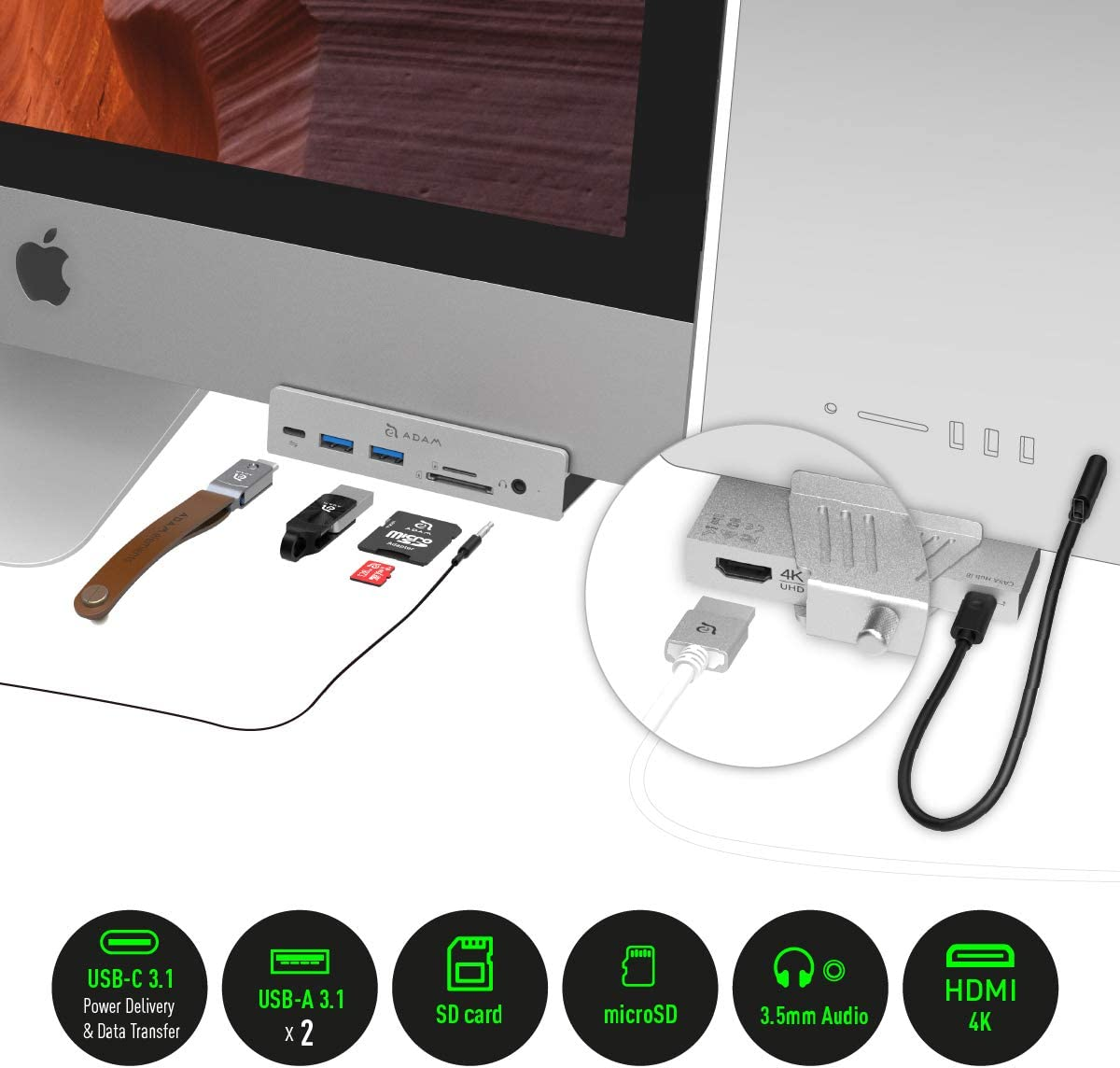 ADAM elements CASA Hub i8 - Front Facing USB-C Hub for iMac & iMac Pro 2017 or Later - USB 3.1 Gen. 1 & USB-C Ports, SD and microSD Card Readers and 3.5mm Audio Out - Rear Facing HDMI Port (4K@30Hz)