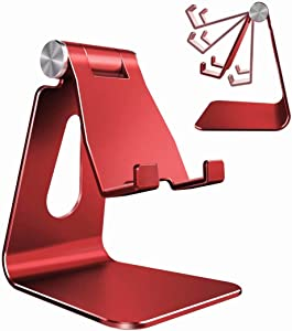 Adjustable Cell Phone Stand, CreaDream Phone Stand, Cradle, Dock, Holder, Aluminum Desktop Stand Compatible with iPhone Xs Max Xr 8 7 6 6s Plus 5s Charging, Accessories Desk,All Smart Phone-Red