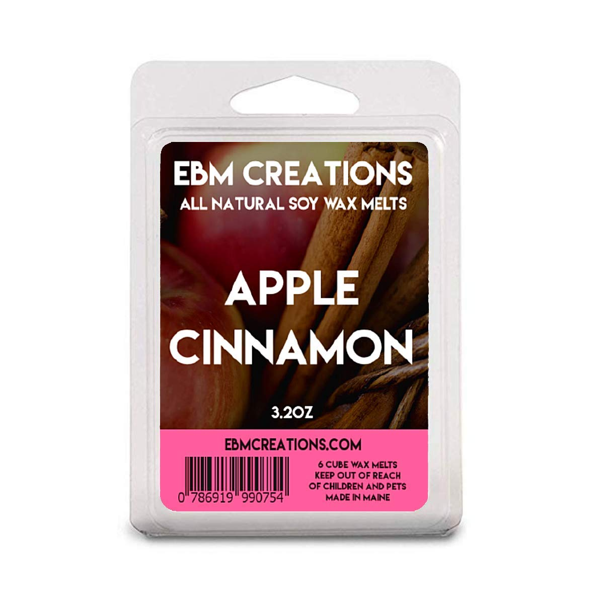 Apple Cinnamon - Scented All Natural Soy Wax Melts - 6 Cube Clamshell 3.2oz Highly Scented!