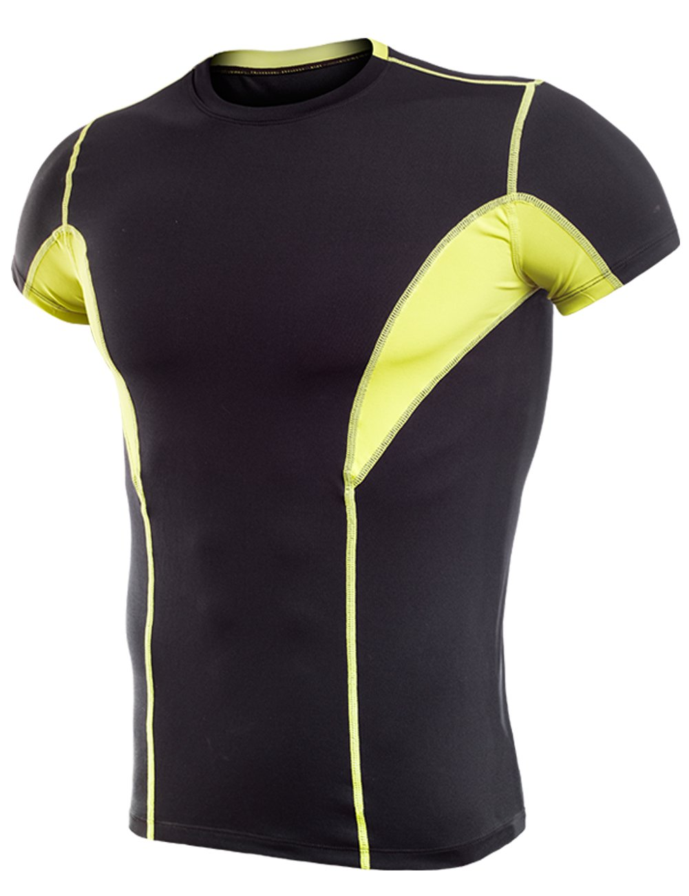 Lavento Men's Cool Dry Compression Shirts Short-Sleeve Workout T-Shirts (1 Pack-17105 Black/Yellow,Medium)