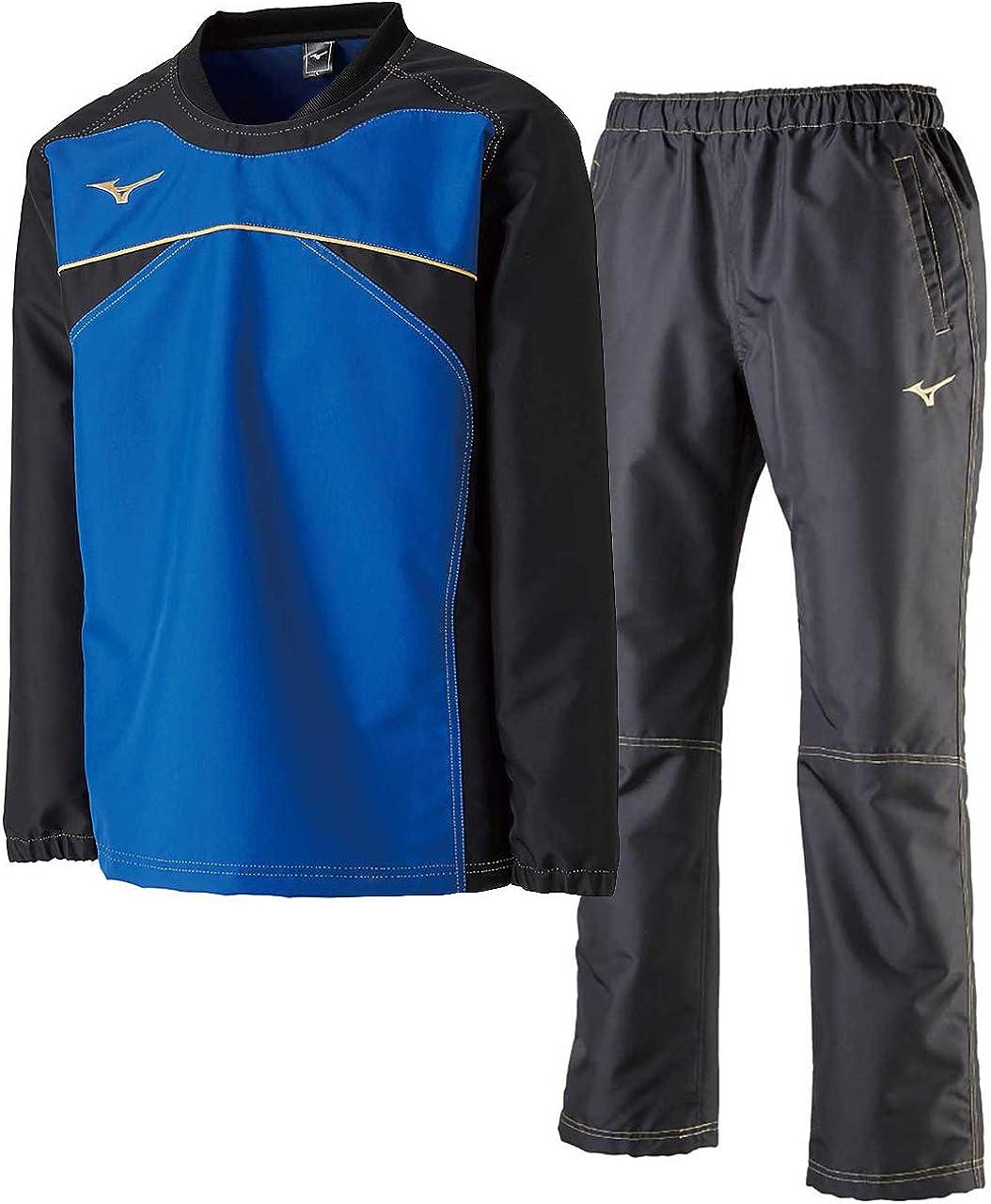 ミズノ(MIZUNO) タフブレーカーシャツ&ロングパンツ上下セット(サーフブルーブラック/ブラック) 32ME8583-25-32MF9182-09 サーフブルーブラック×ブラック 2XL