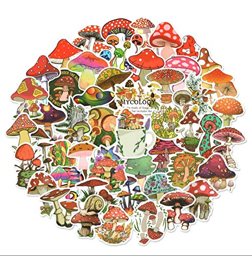 50pcs Mushroom Stickers for Water Bottles, Vinyl Waterproof Stickers Decals for Laptop Scrapbook, Vinyl Stickers for Adults, Kids, Tenns
