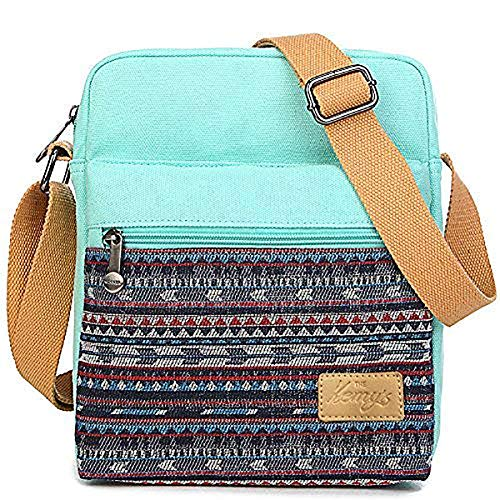 Girls Crossbody Purse Small Canvas Organizer Striped Messenger Bag Shoulder Bag for Traveling (Teal) (Top Gift Ideas For 11 Yr Old Girl)