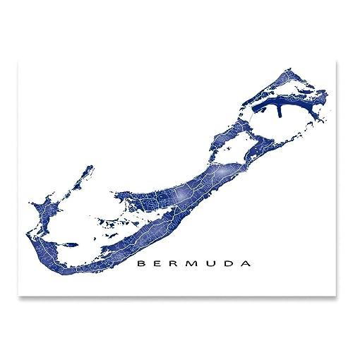 Amazon.com: Bermuda Map Art Print, Somers Isles, Caribbean Islands ...