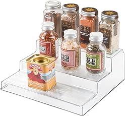 InterDesign Linus Organizador de cocina, especiero de plástico con 3 alturas, estante organizador de especias y condimentos, transparente