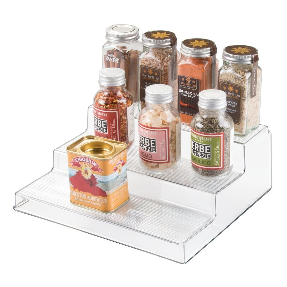 InterDesign Linus Cabinet Organizer Rack – 3-Tiered Storage for Kitchen, Pantry or Bathroom Countertops, Clear