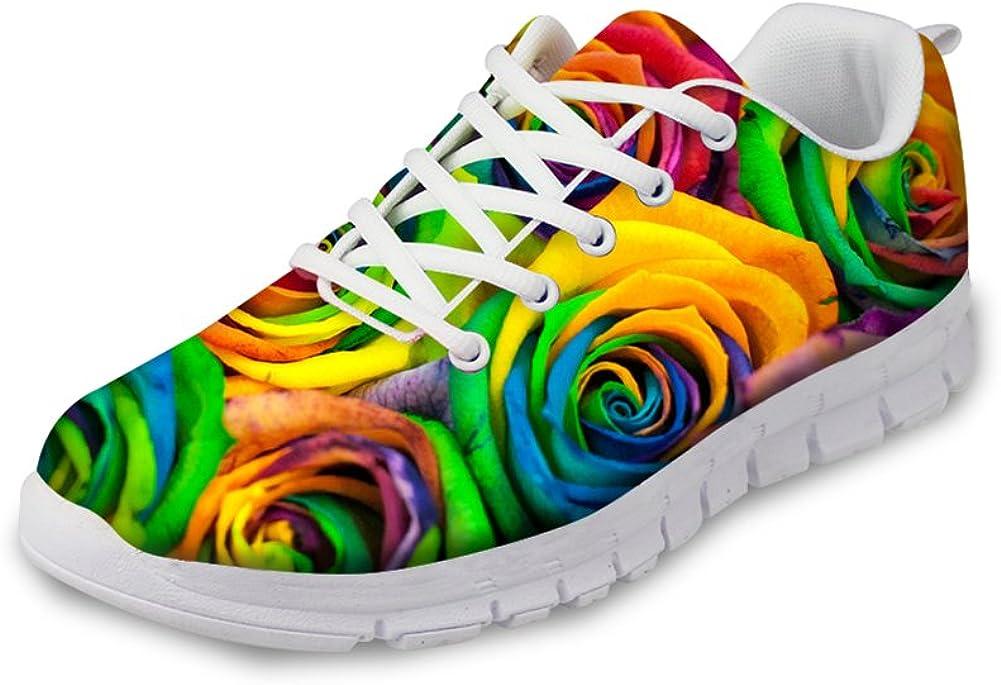 für U Designs Women'S Running Sneaker Lightweight gehen Easy Walking Jogging Sports Running Shoes Rose Floral Print
