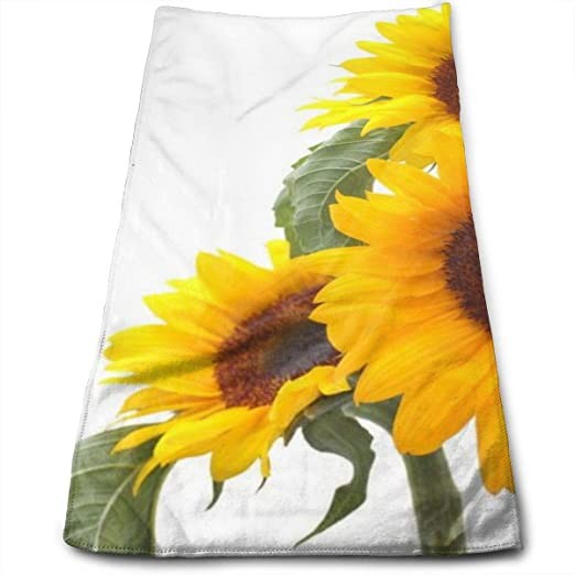 Amazon Com Green Leaves Bloom Sunflower Bathroom Towels Floral Flower Hand Towels Soft Small Bath Towels Super Absorbent Kitchen Dish Towel Decorations 27 56 X 11 81 Kitchen Dining