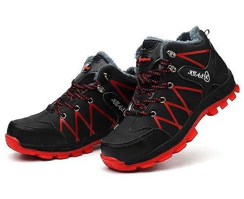 Calzado Deportivo Zapatillas de Seguridad Zapatos de Trabajo Botas Caminante Tobillo Cuero Botas de Seguridad Impermeables Piel Forrado Botas de Nieve: ...
