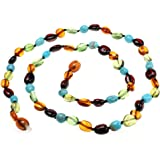 Amberbeata Honey Cognac, Cherry Baltic Amber, Caribbean Green Amber & Natural Turquoise Beads Necklace, 20-Inches
