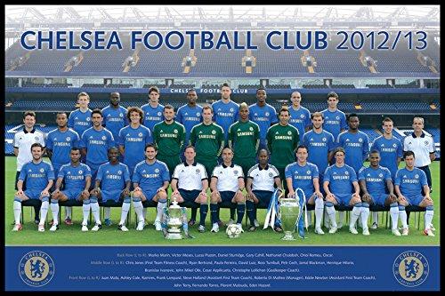 England Chelsea Team Photo (2012-2013 Season) English Football Soccer Players Sports Fan Framed Poster Print 24x36