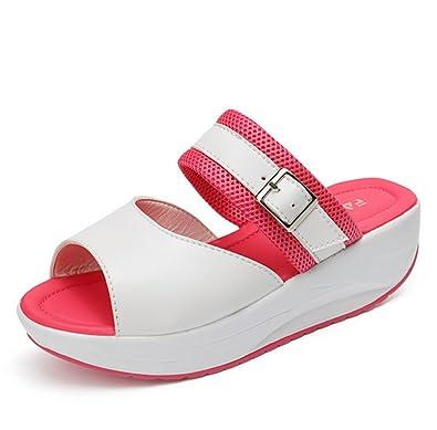 Frau Sommer Dicke Sohlen Pantoffeln,Casual-Römischen Stil Weiche Hausschuhe-C Fußlänge=23.8CM(9.4Inch)