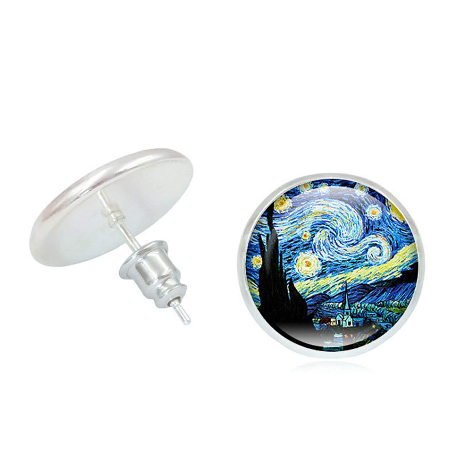 Popular 2019 Painting The Starry Night Ear Studs Stud Earrings Van Gogh Sunflowers Round Classic Jewelry Creative